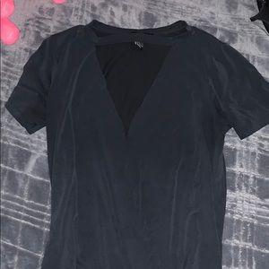 Black short sleeve v neck